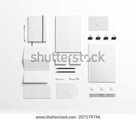 Blank Stationery set isolated on white to replace your design