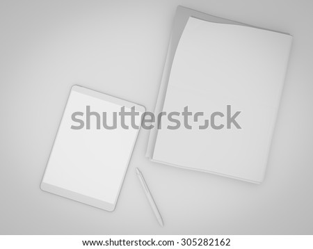 Blank stationery set on wood background paper, watch, phone, sheets and pen. Business mockup template identity