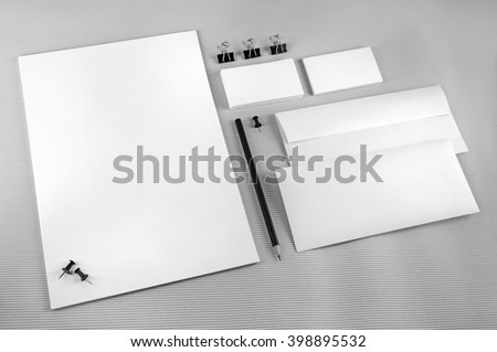 Blank stationery set with soft shadows on gray background.. ID template. Mockup for branding identity for designers.