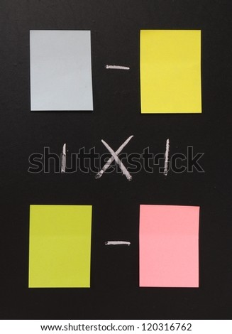 blank sticky notes in different colors on a blackboard