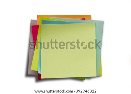 Blank Sticky Notes. Write your message. Colorful sticky notes. - stock photo
