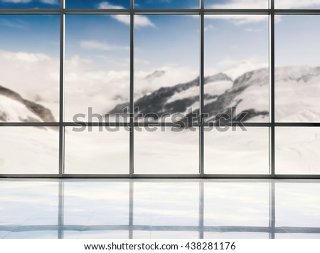 blank studio with winter background