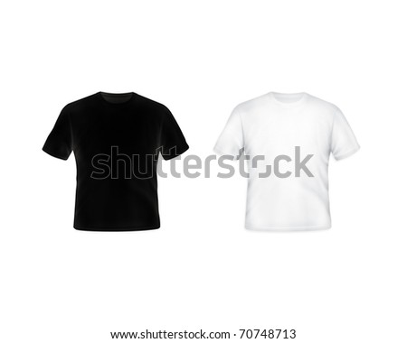 blank t-shirt black and white - stock photo