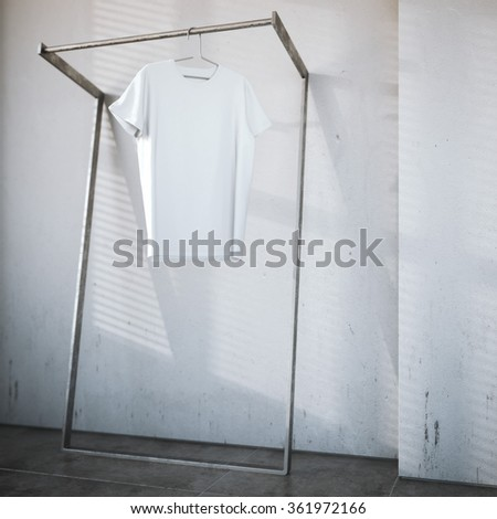 Blank t-shirt on hager in bright interior. 3d rendering - stock photo