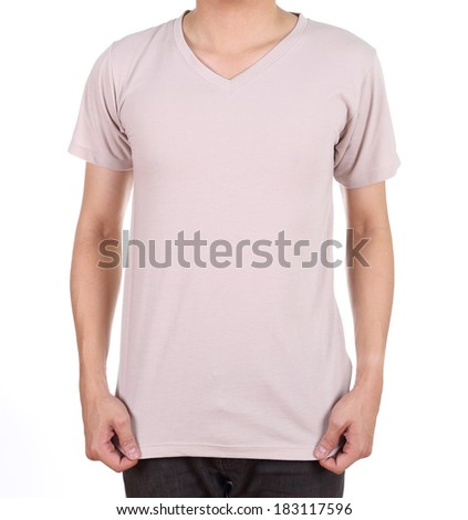 blank t-shirt on man (front side) isolated on white background