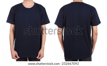 blank t-shirt set (front, back) on man isolated on white background - stock photo
