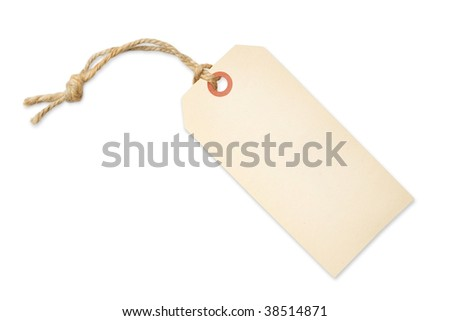 Blank tag label isolated on white background with shadow - stock photo