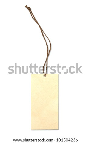 Blank tag tied with brown string