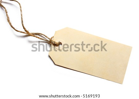 Blank tag tied with brown string.  Price tag, gift tag, sale tag, address label, etc. - stock photo