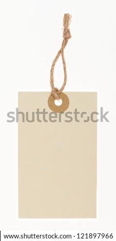 blank tag tied with rope - stock photo