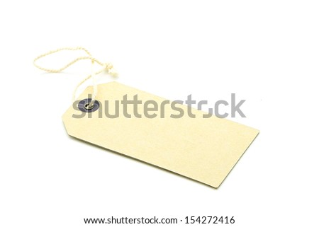 Blank tag tied with string, or Price, gift, sale tag and address label