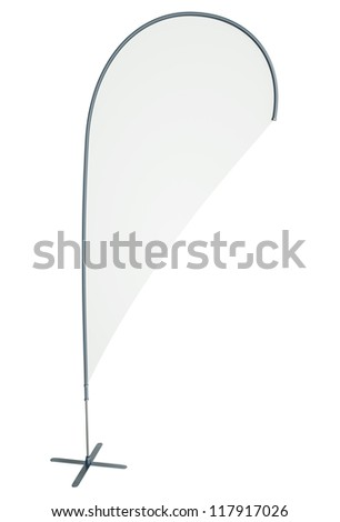 Blank teardrop/flying banner isolated on white background. 3D render - stock photo