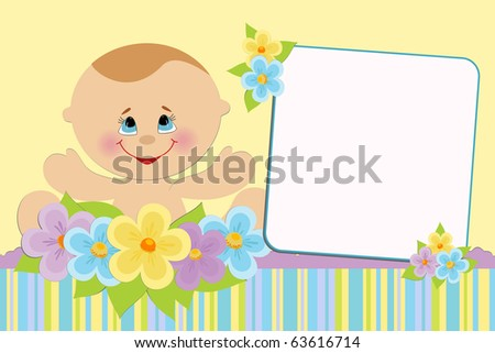 Blank template for baby's greetings card or photo frame