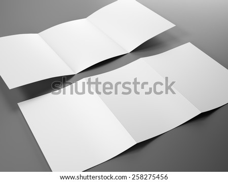 Blank template of trifold brochure A4 size - stock photo