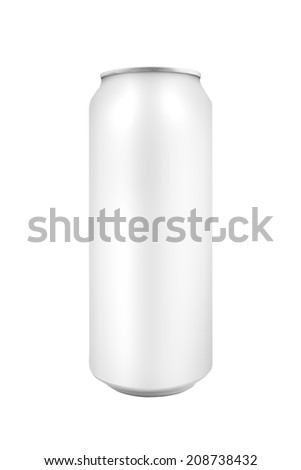 Blank tin beer can as copy space isolated on white background