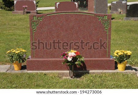 Blank Tombstone in a Cemetery - stock photo