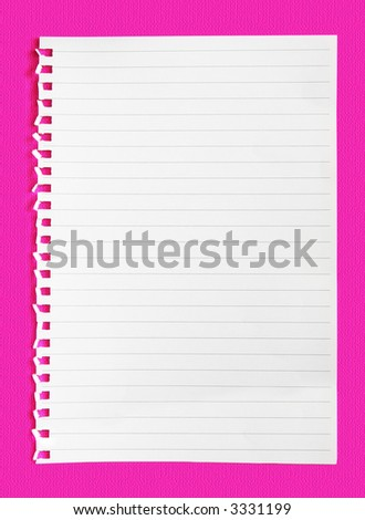 Blank torn notepaper on a neon pink background. - stock photo