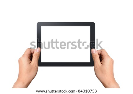 Blank touchpad with two hand, isolated on white - stock photo