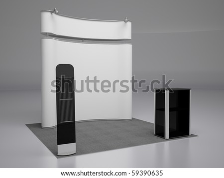 Blank trade exhibition stand.Left perspective view. - stock photo