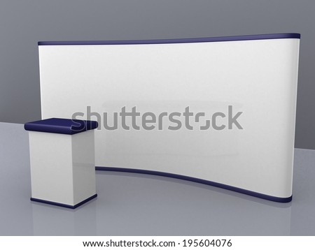 blank trade show booth for designers. 3d render illustration - stock photo