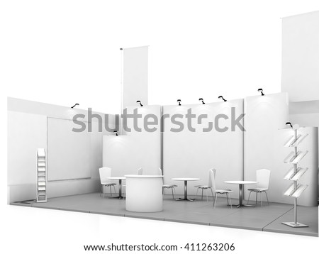 Blank trade show booth mock up. 3D rendering - stock photo