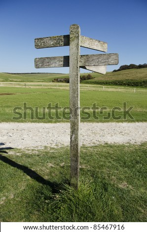 Blank traditional wooden sign post, add your own text. - stock photo