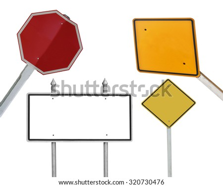blank traffic sign collections on white - stock photo