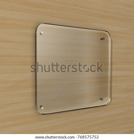 Blank transparent glass Interior Office Corporate Signage plate mock up, Office name plate mock up on the wall. Signage panel, store door template. Clear printing board for branding.3d rendering