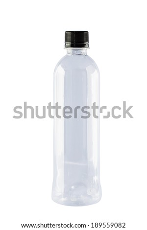 Blank transparent of drink water plastic bottle isolated on white background with work path - stock photo