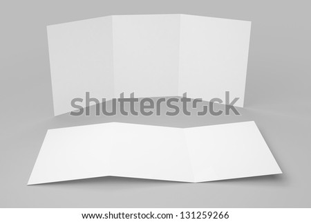Blank Tri-fold Brochure isolated with soft shadows - stock photo