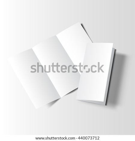 Blank tri fold cover flyer on white background. 3D illustration with soft shadows. Raster copy of vector file. - stock photo