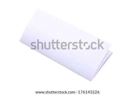 Blank Trifold Paper Brochure On White Background With Soft Shadows. Z-Folded