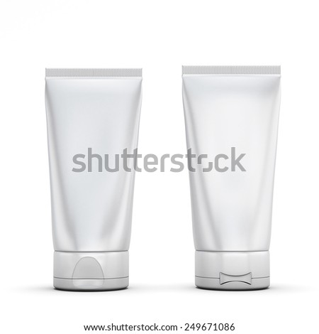 Blank tubes for cream, front and rear - stock photo