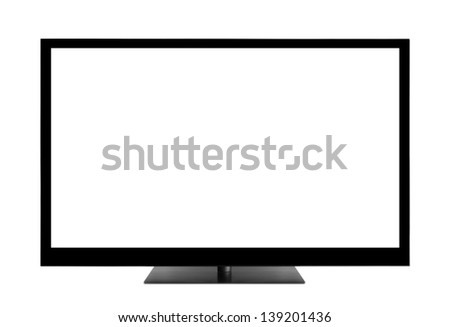 Blank TV screen with clipping path - stock photo