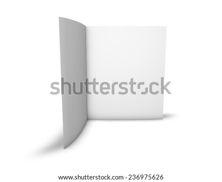 Blank two page brochure standing in vertical position with white pages, copy space, isolated on white background. - stock photo
