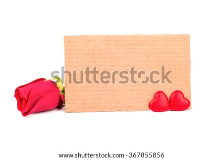 Blank valentine card with rose and heart on a white background