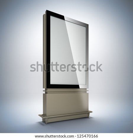 Blank vertical billboard. 3D illustration of blank template layout empty metal billboard with black frame. - stock photo