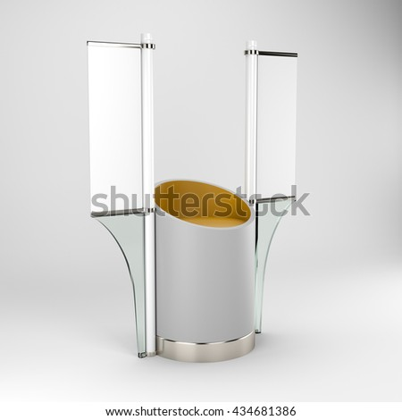 Blank vertical flag on a pole for customizing. 3D rendering - stock photo