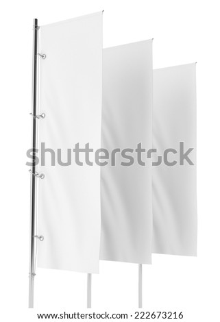 Blank vertical flag on a pole for customizing. template  - stock photo
