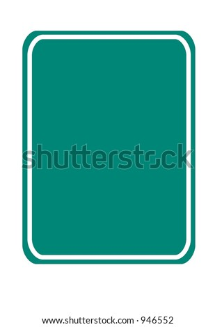 Blank vertical rectangular green traffic sign isolated on a white background