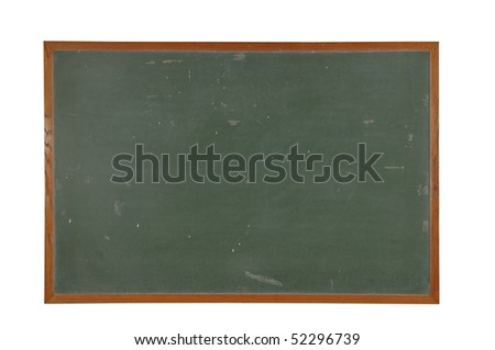 Blank vintage chalkboard with wood frame isolated over white with a clipping path - stock photo