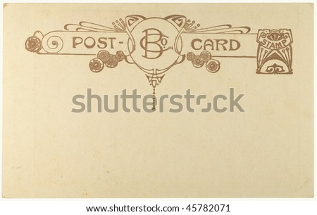 Blank vintage postcard from early-to-mid-1900s with copyspace - stock photo