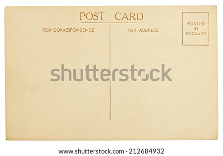 Blank Vintage Postcard Isolated on White Background - stock photo