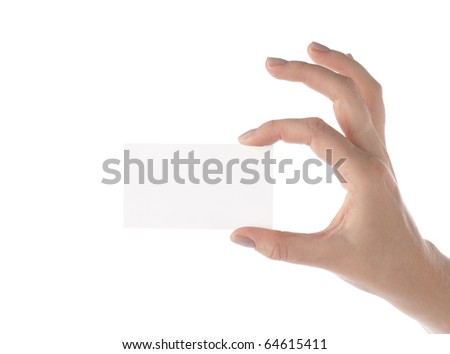 Blank visit card in female hand on white background - stock photo
