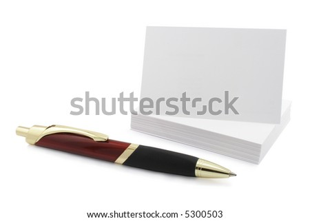 Blank visit or business card with pen isolated on white - stock photo