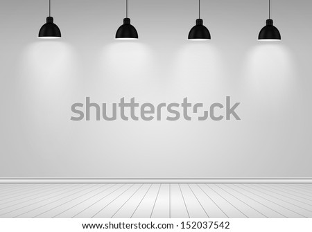 Blank wall with place for text illuminated by lamps above - stock photo