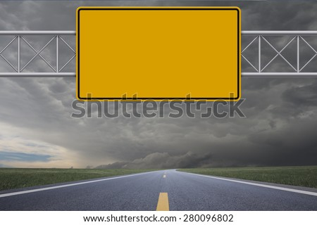 Blank warning road sign - stock photo