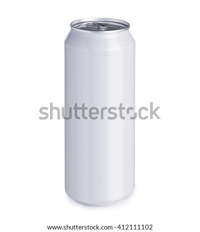 Blank white aluminum can with drink or liquid isolated on white background - stock photo
