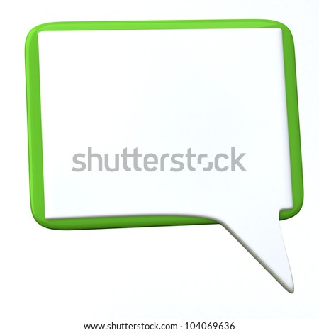 Blank white and green chat icon - speech bubble 3d - stock photo