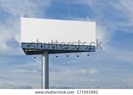 Blank white billboard against blue sky, put your own text here